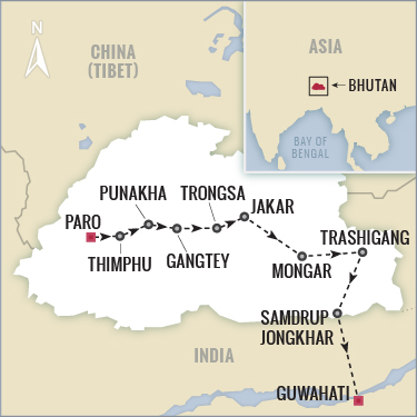 Bhutan tour map with Boundless Journeys