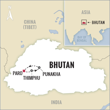 Bhutan Private Tour map with Boundless Journeys