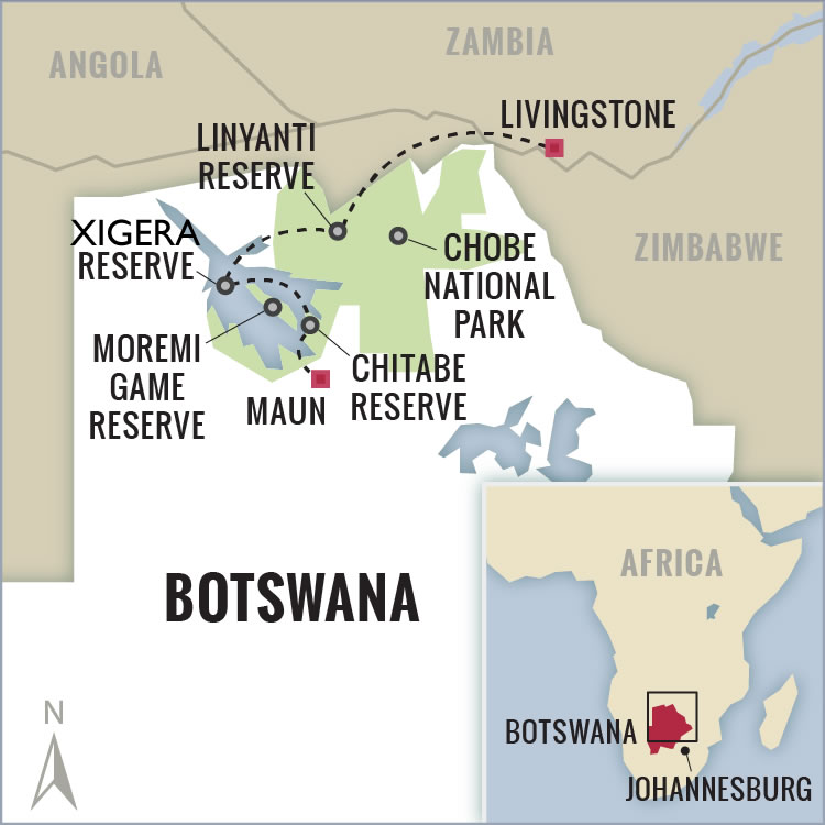 Botswana and Okavango Delta Safari Map