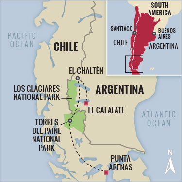 Chile Argentina Patagonia hiking map with Boundless Journeys