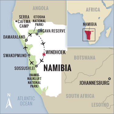 Namibia Safari map with Boundless Journeys