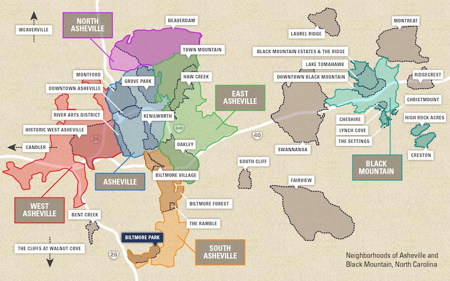 Neighborhood Map Of Asheville Amp Black Mountain Nc Greybeard Realty