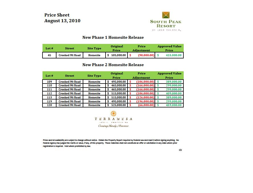 South Peak Phase 2 Price List 8/13/10