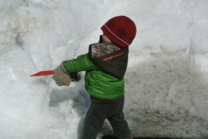 Shoveling Snow becomes tilling the Garden and Planting