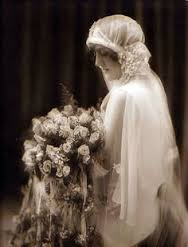 old pic of bride with bouquet
