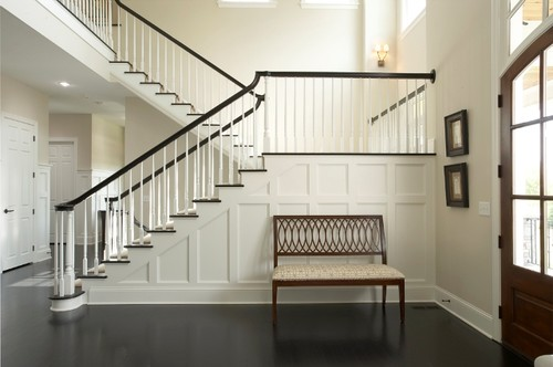 dark stained handrail