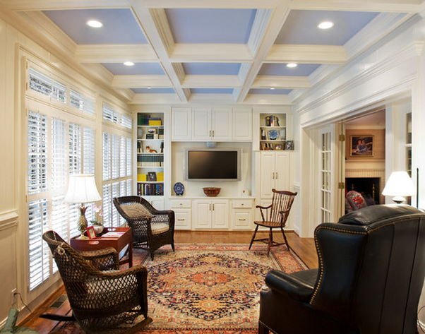 living room coffered ceiling