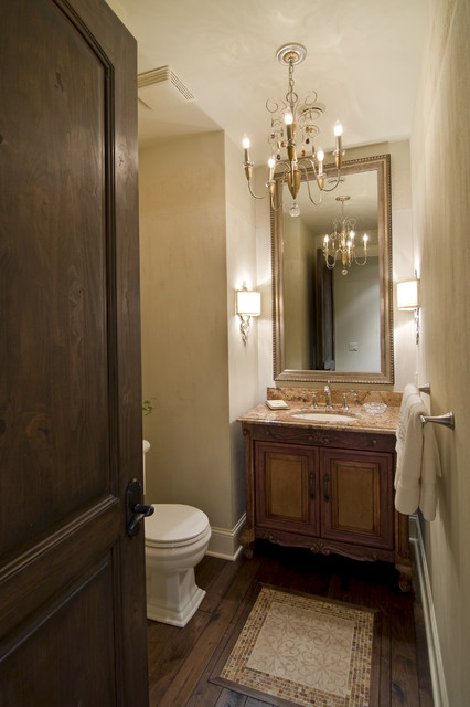 chandelier in powder room