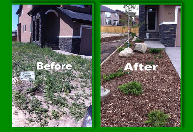 BeforeAfter_mulchFrontYard