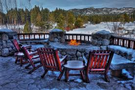 winter outdoor fireplace