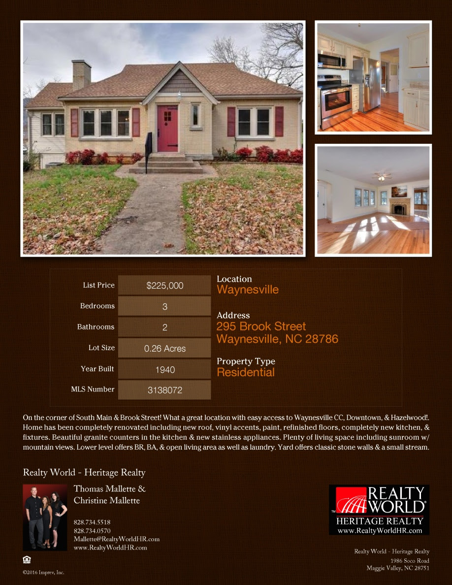 295 Brook Street $Change $225,000