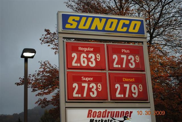 Sunoco gas price 10-30-09