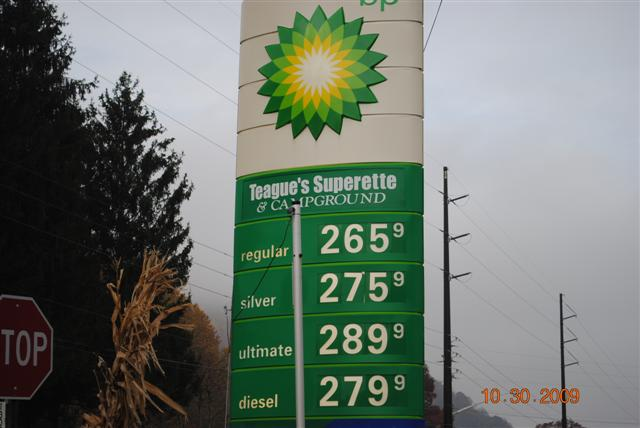 Teagues Superette gas price 10-30-09