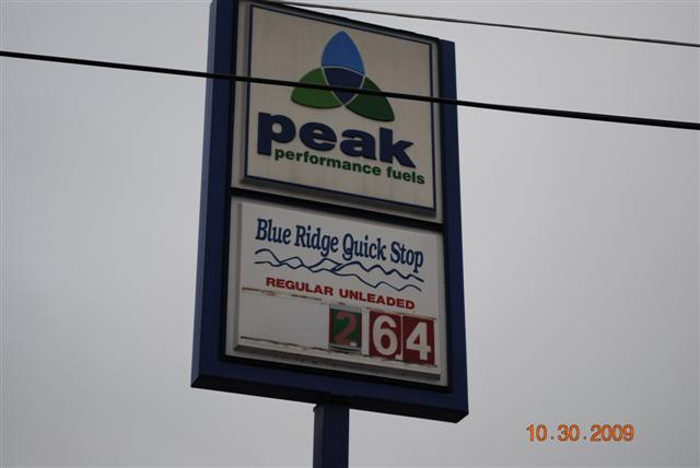 PEAK gas price 10-30-09