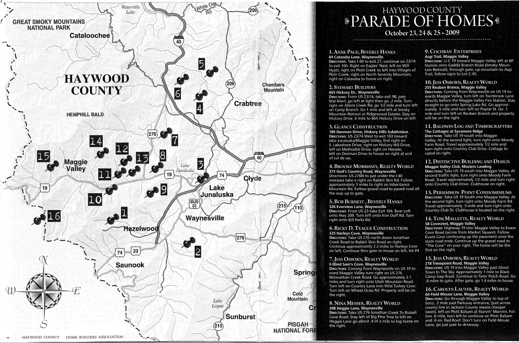 Haywood County NC Parade of Homes Map