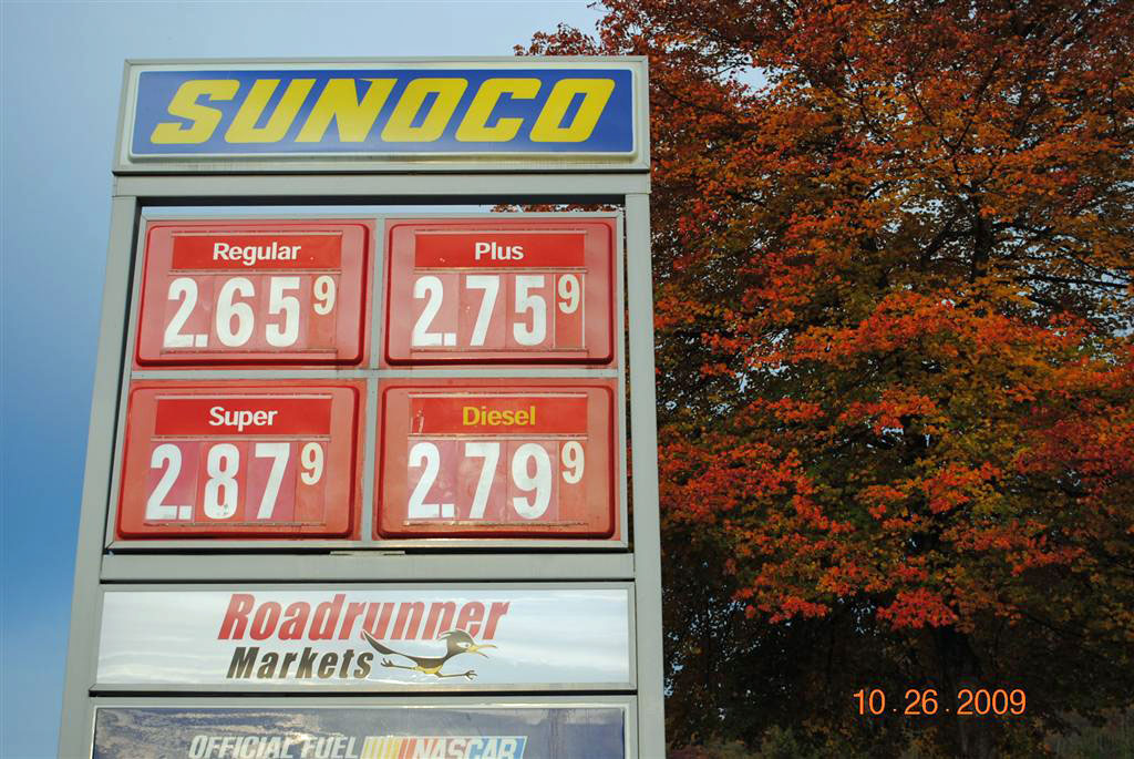Sunoco 10-26-09 Gas Price as of 8:15am