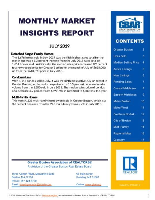 July 2019 Greater Boston Market Trends